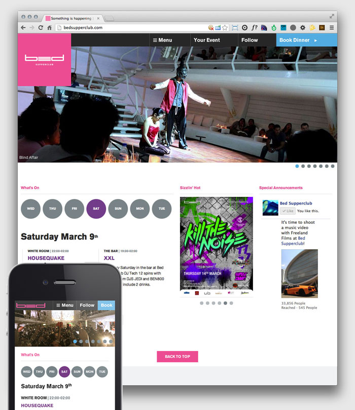 Bed Supperclub homepage viewed on a desktop and smartphone